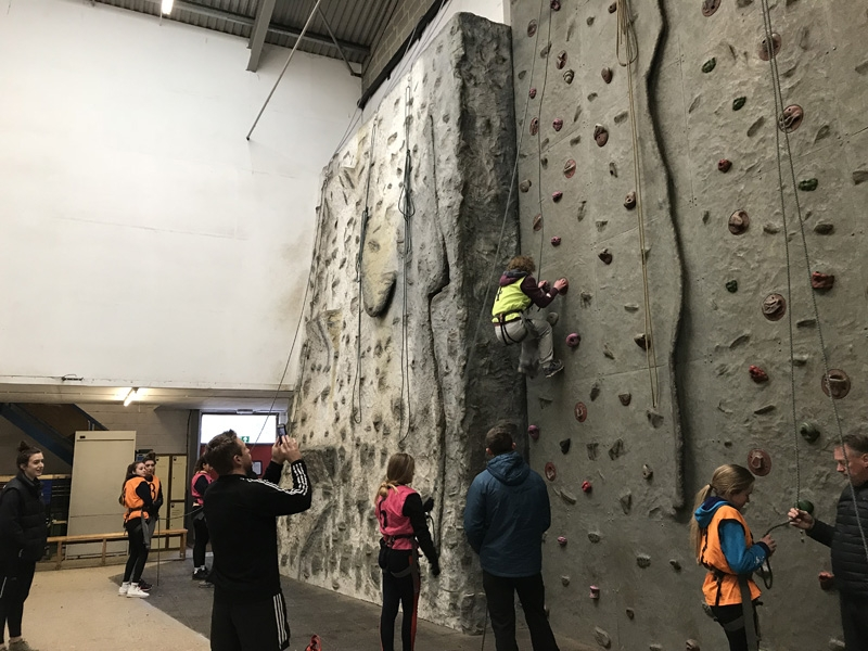 GCSE climbing in the indoor wall, Sussex