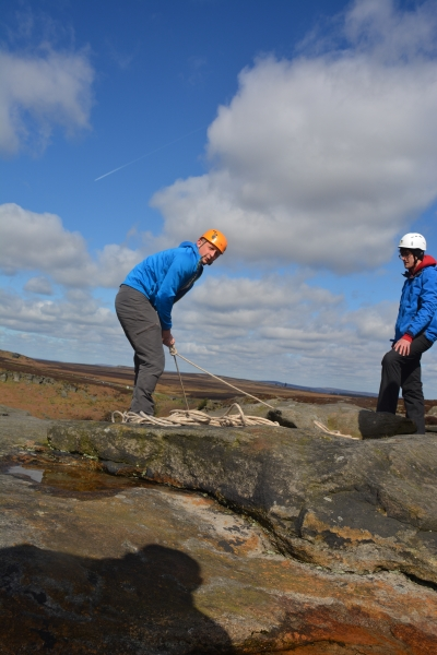 Setting up climbs at Burbage, Peak District
