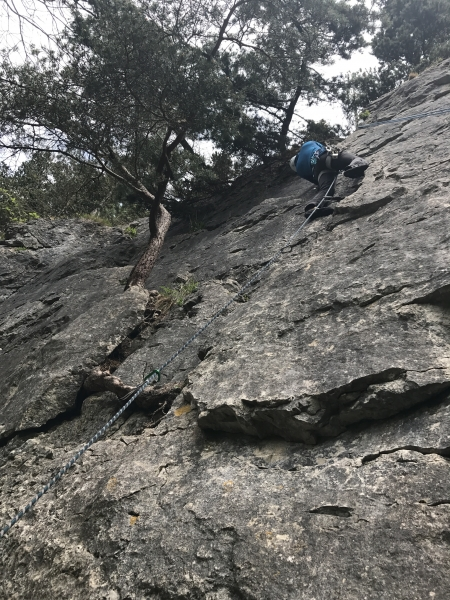 Jon on his first trad lead climb