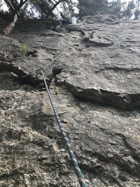 Jon on his first trad lead climb
