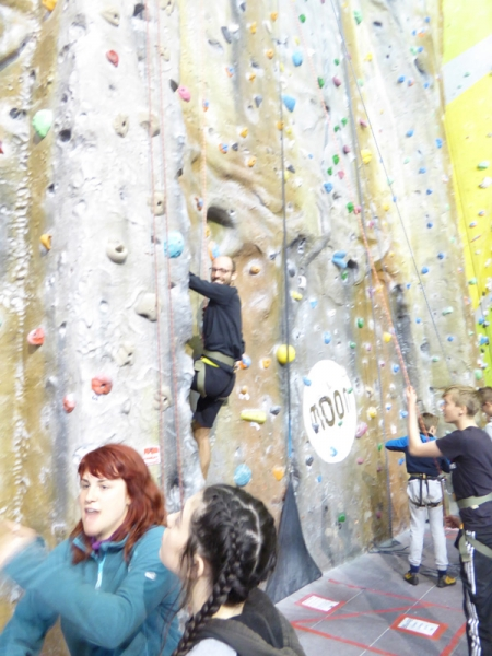 Helping on a climbing session in the Foundry, Sheffield