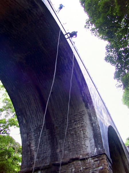 The bridge abseil in the Peak District