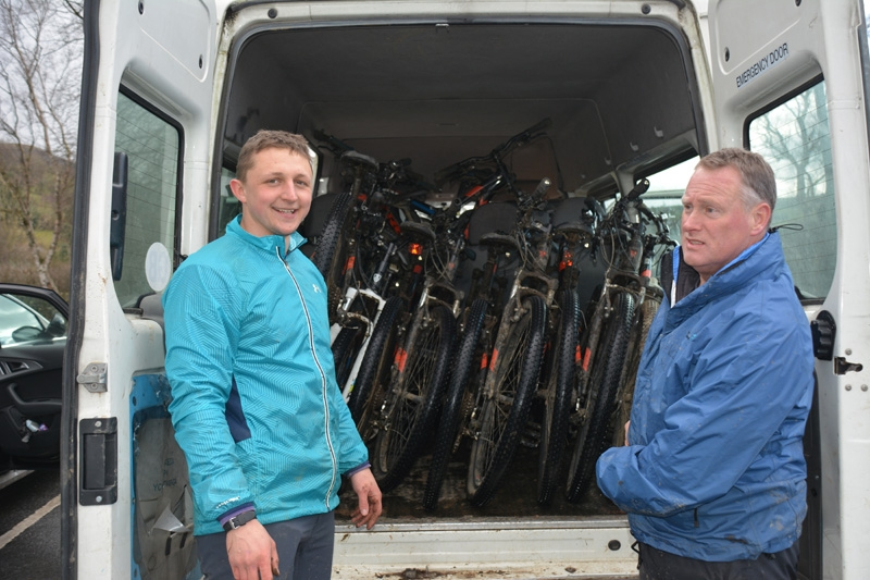 Ross and Bruce after GCSE mountain biking, Peak District