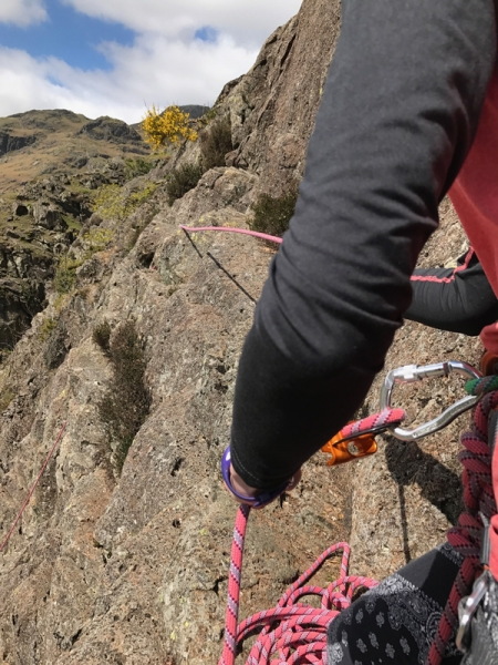 Trainees multi pitch climbing in Langdale, Lake District