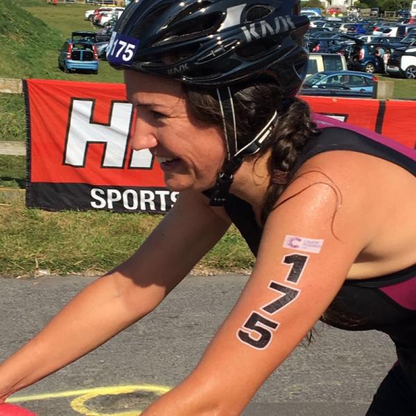 Harriet, our Admin Director, in a triathlon