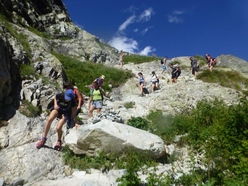 Descending from the Glacier Blanc hut walk, French Alps
